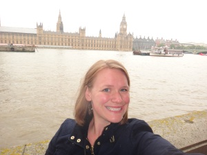 Kristin Kondrlik in front of the Houses of Parliament, from the South Bank of the Thames